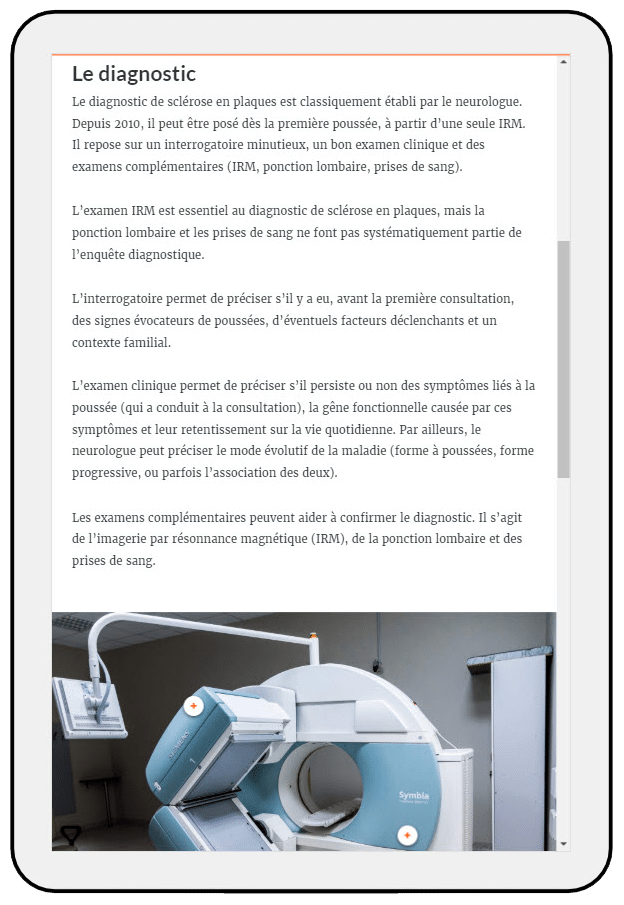 description du diagnostique d'un IRM sur tablette