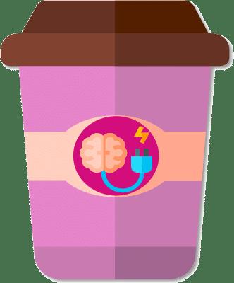 Un cerveau relié à une cable électrique dans un mug rose